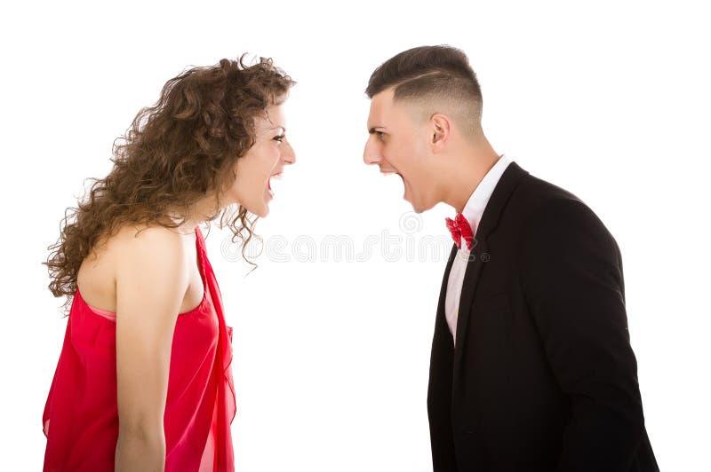 Elegant paar in het witte vechten als achtergrond royalty-vrije stock fotografie