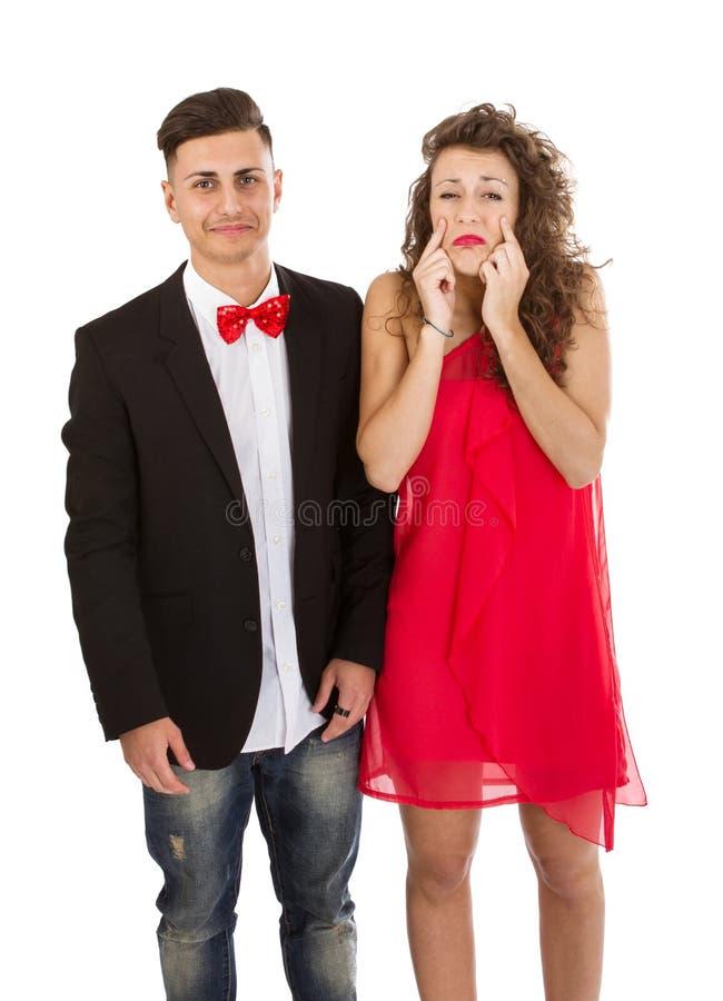 Elegant paar in witte droefheid als achtergrond stock afbeelding