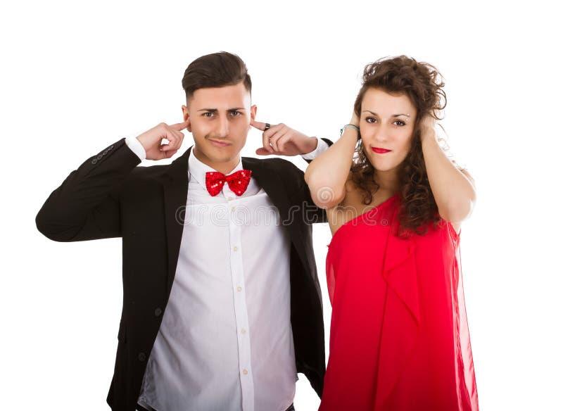 Elegant paar in witte sluitende oren als achtergrond royalty-vrije stock afbeeldingen
