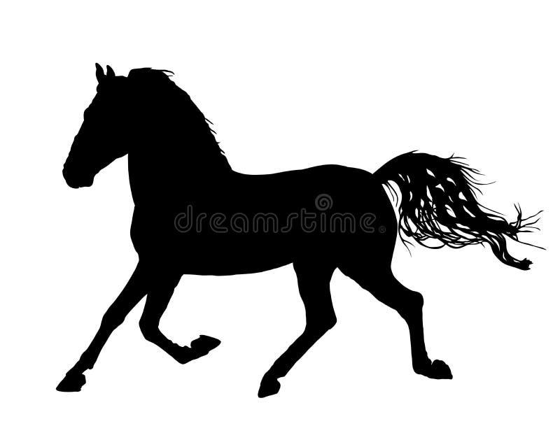 Elegant paard in galop, vectorsilhouetillustratie royalty-vrije illustratie