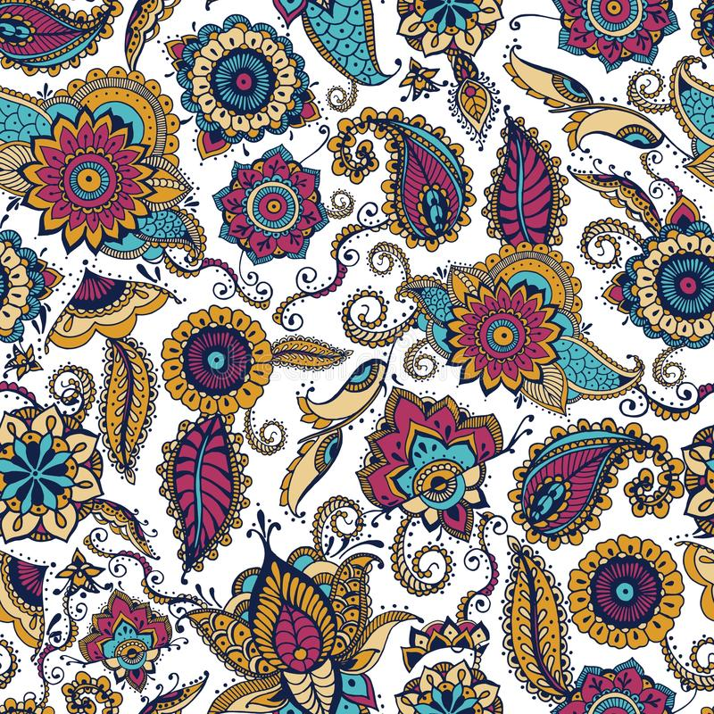 Elegant paisley seamless pattern with colorful Indian buta motif and floral mehndi elements on white background. Motley royalty free illustration
