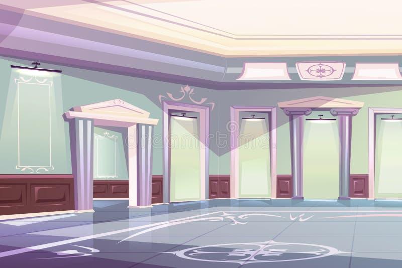 Elegant palace ballroom, museum gallery interior vector illustration