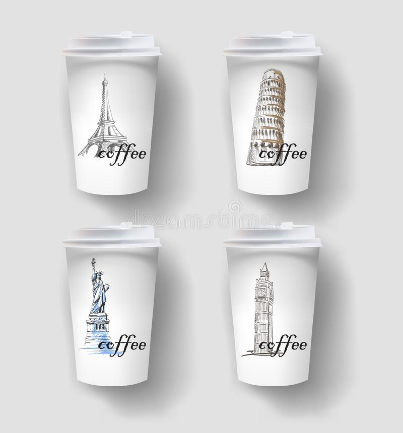 Elegant paper coffee cup design, takeaway cup packaging set with labels. 3D illustration. image of attractions, leaning tower of Pisa, bigben, statue of vector illustration