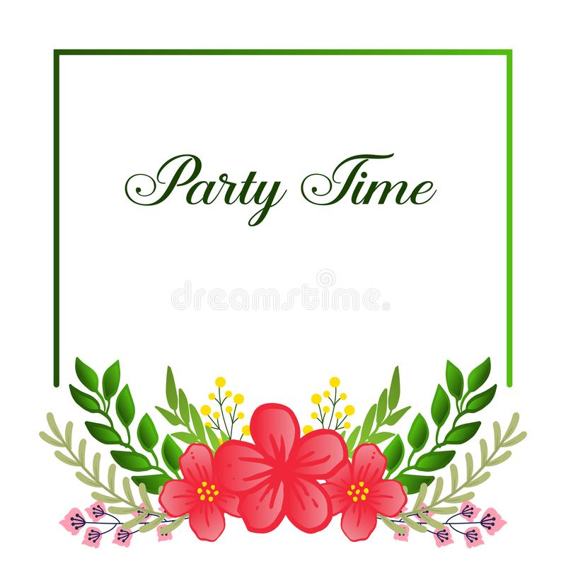 Elegant party time card, with green leafy flower frame, isolated on white background. Vector. Illustration vector illustration