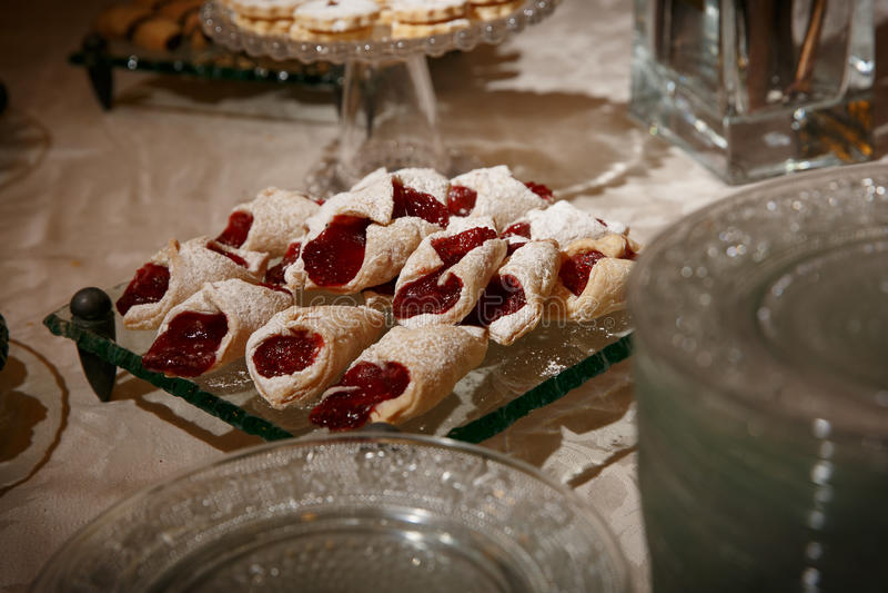 Elegant pastries with jam royalty free stock image