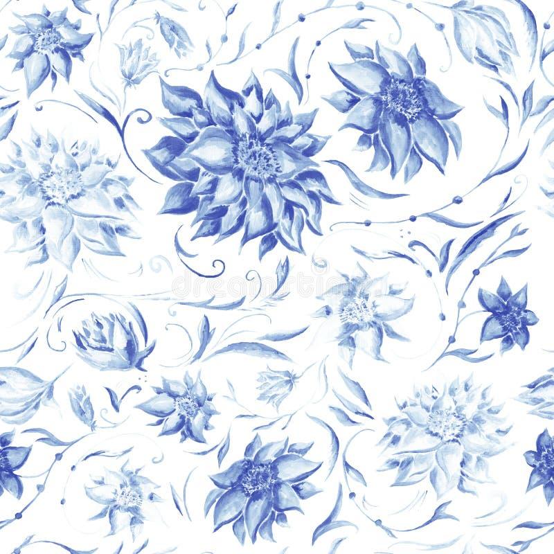 Elegant Patroon met Indigobloemen royalty-vrije illustratie