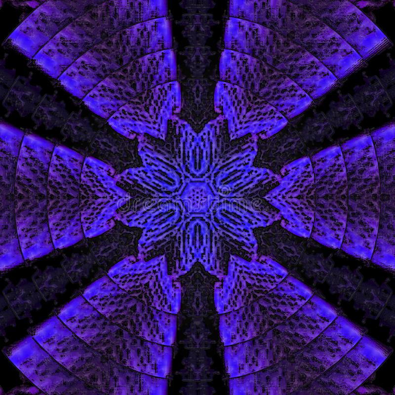 Elegant patroon in neon violette en blauwe kleuren Ster Mandala stock illustratie