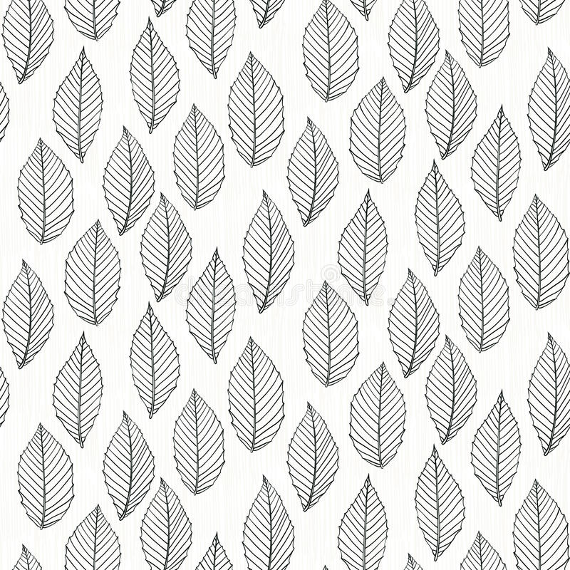 Elegant pattern with leafs drawn in thin lines royalty free illustration