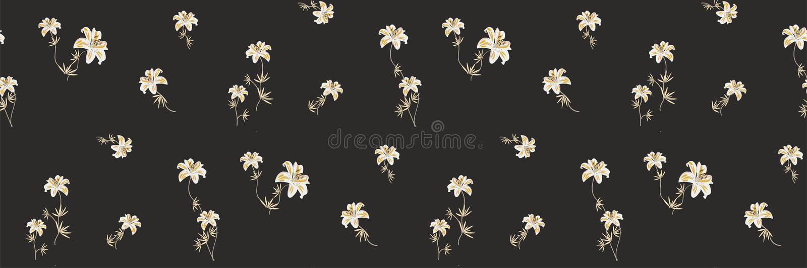 Elegant pattern in small flower. Small white flowers. Lilies on a dark black background. Ditsy floral background. royalty free illustration