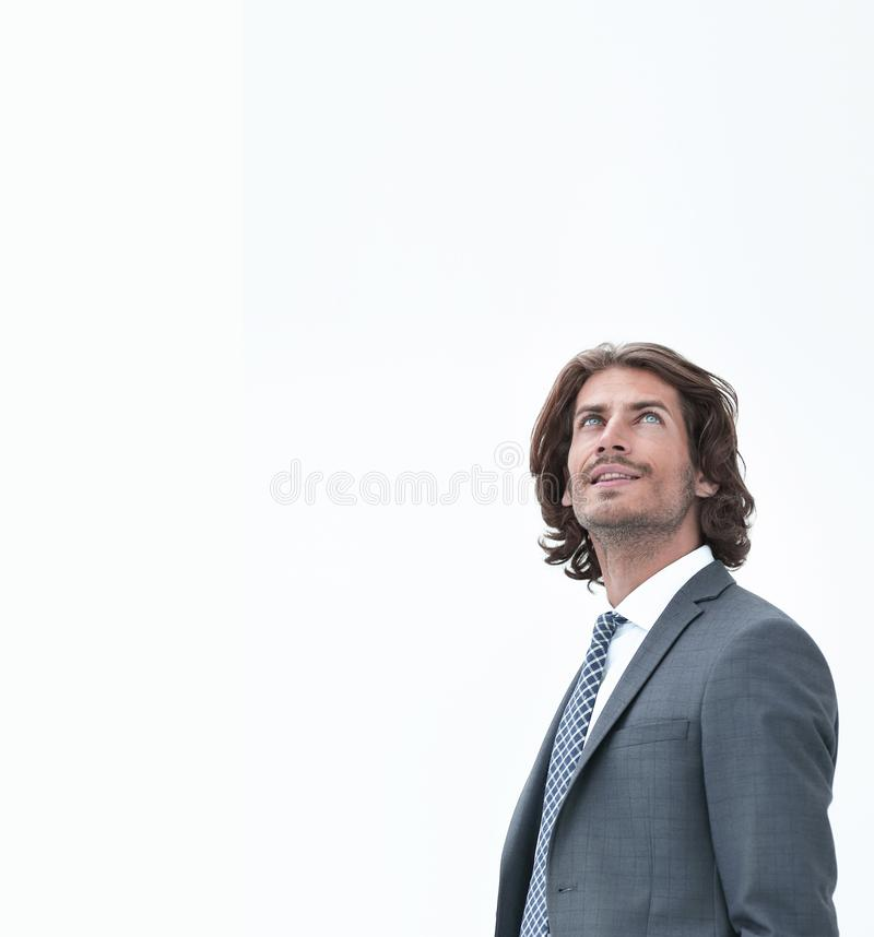 Elegant people looking up on white background stock photography