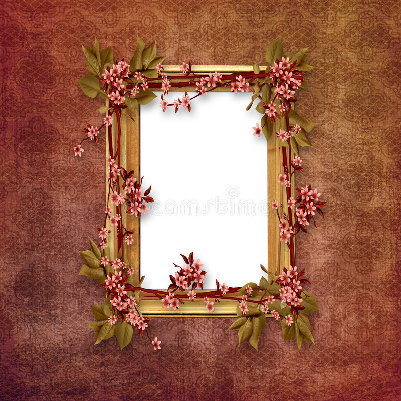 Elegant picture frame with pink flowers. On wall royalty free illustration