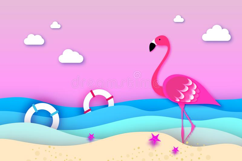 Elegant Pink Bird Flamingo And Lifebuoy In The Sea In Paper Cut