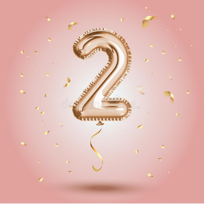 Free Elegant Pink Greeting Celebration Two Years Birthday Anniversary Number 2 Foil Gold Balloon. Happy Birthday Royalty Free Stock Image - 185816276