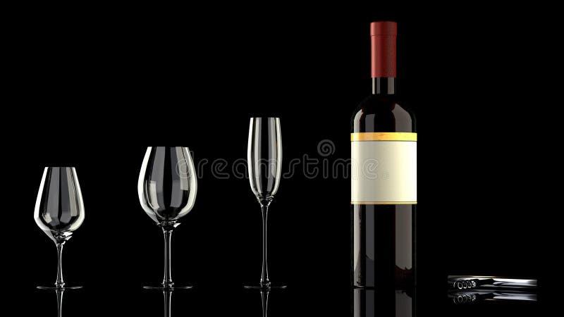 Elegant plats - en flaska av rött vin och tre olika vinglas royaltyfri bild