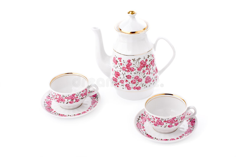 Elegant porcelain tea set royalty free stock image