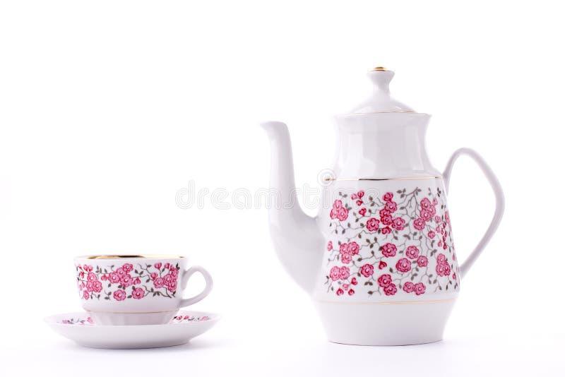 Elegant porcelain tea set royalty free stock photo