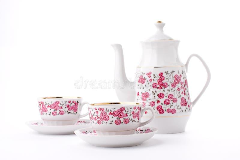 Elegant porcelain tea set royalty free stock photography