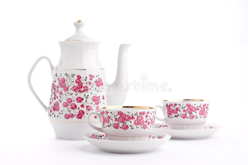 Elegant porcelain tea set royalty free stock images