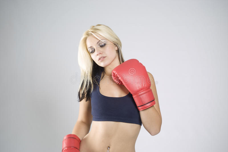Download Elegant Pose Woman Boxer With Red Gloves Stock Image - Image: 21635525