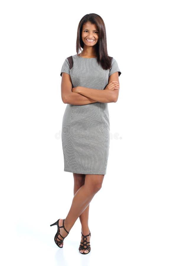 Elegant posera för afrikansk amerikankvinna royaltyfri foto