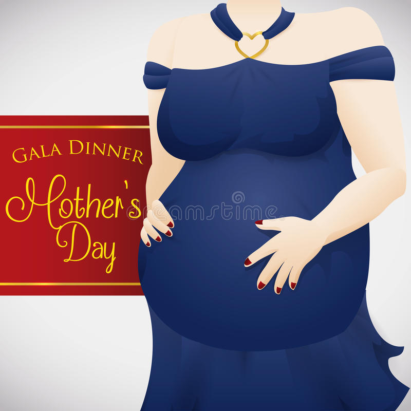 Elegant Pregnant Lady in Gala Dinner for Mother's Day Celebration, Vector Illustration stock photography