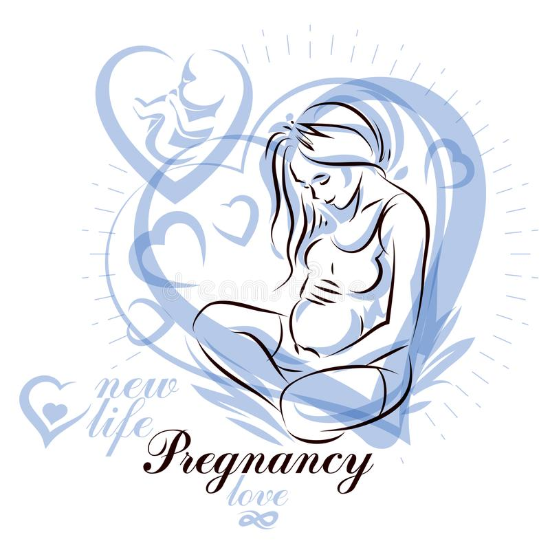 Elegant pregnant woman body silhouette drawing. Vector illustration of mother-to-be fondles her belly. Gynecology and pregnancy m stock illustration