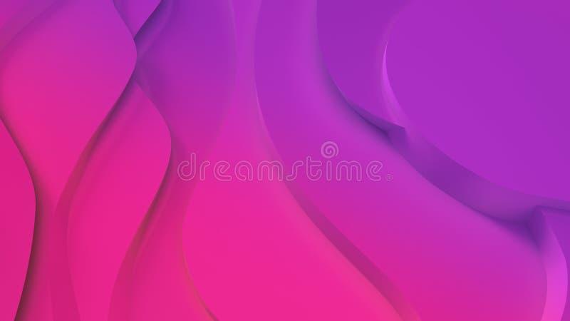 Elegant purpurfärgad och rosa neonfärg l?ttnad Abstrakt topografisk bakgrund H?rlig v?tskedesign kaotiska band skapar vektor illustrationer