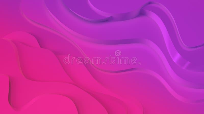 Elegant purpurf?rgad och rosa neonf?rg l?ttnad Abstrakt topografisk bakgrund H?rlig v?tskedesign kaotiska band skapar royaltyfri illustrationer
