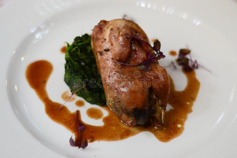 Elegant quail dish. With garnish and sauce royalty free stock photography