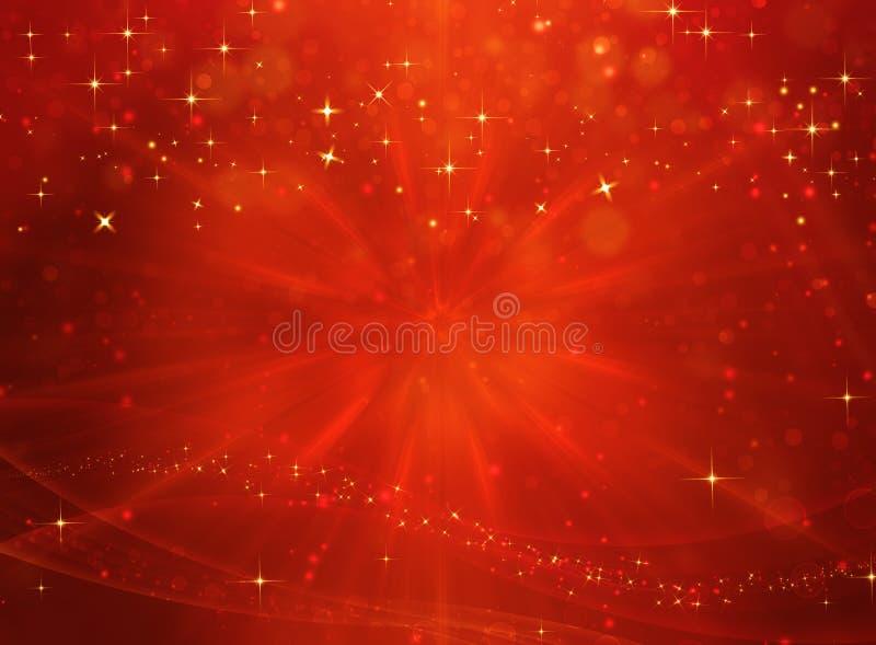 Elegant röd festlig bakgrund med guld- stjärnor stock illustrationer
