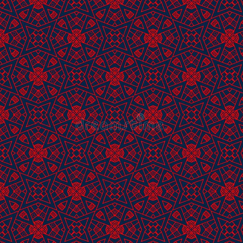 Elegant röd invecklad sömlös modelldesign över mörker - blå bakgrund vektor illustrationer