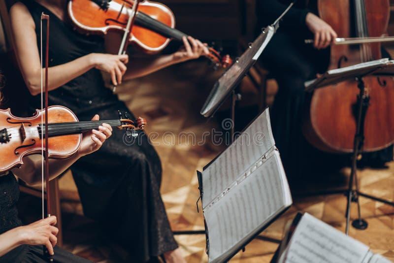 Elegant radkvartett som spelar i lyxigt rum på bröllopreceptien arkivbilder