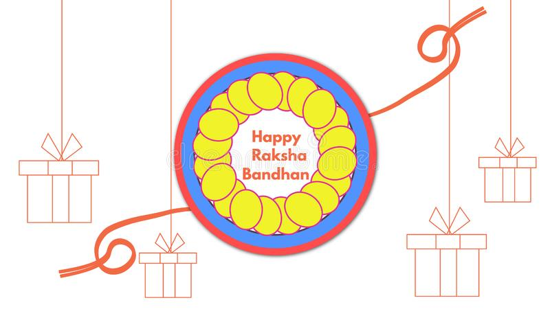 Elegant Rakhi for Brother and Sister bonding in Raksha Bandhan festival from India stock illustration