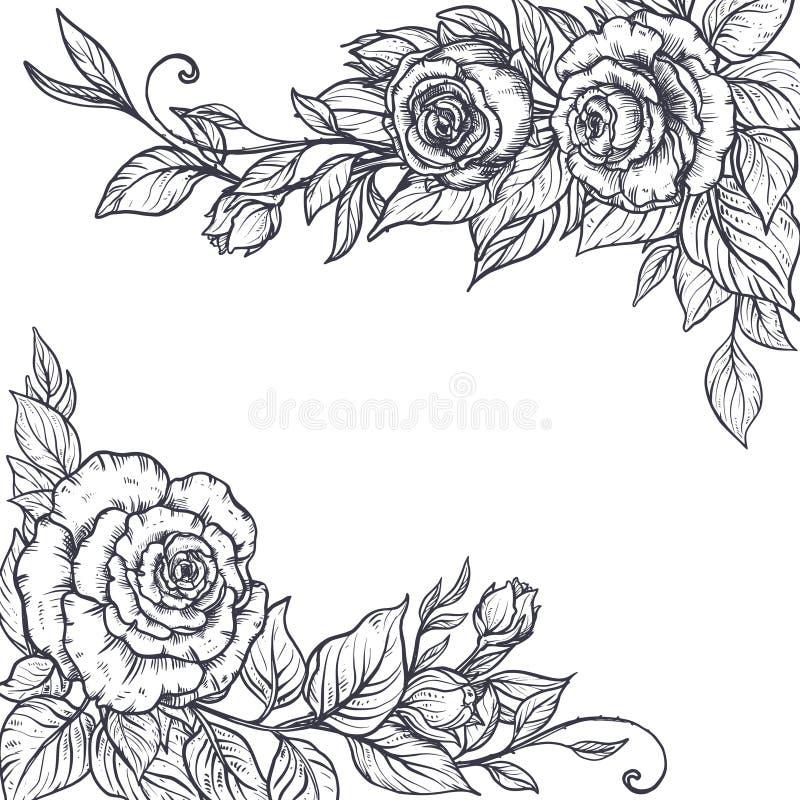Elegant ram för tappning med grafiska rosa blommor och sidor vektor illustrationer