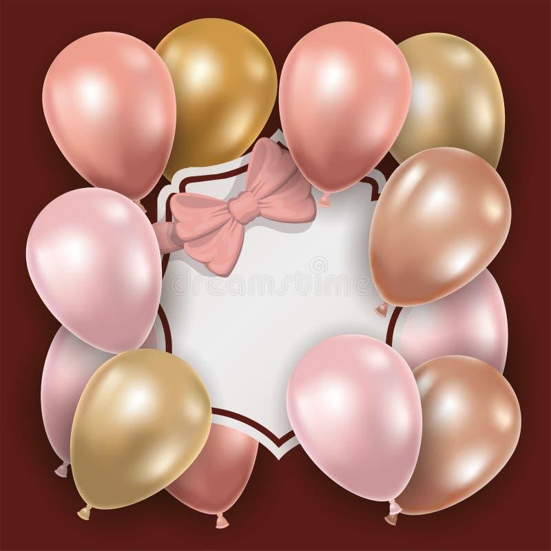 Elegant ram med rosa pilbåge- och ballonghelium royaltyfri illustrationer