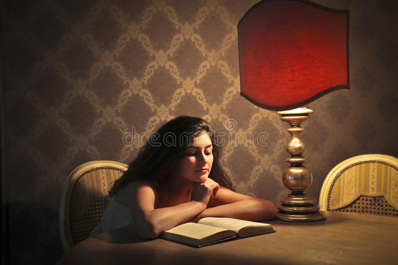 Download Elegant Reading stock photo. Image of face, indoor, girl - 27314320