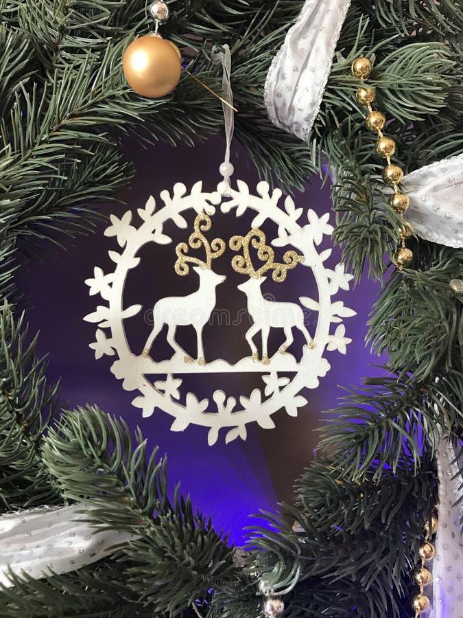 Elegant real Christmas wreath with ribbon royalty free stock photos