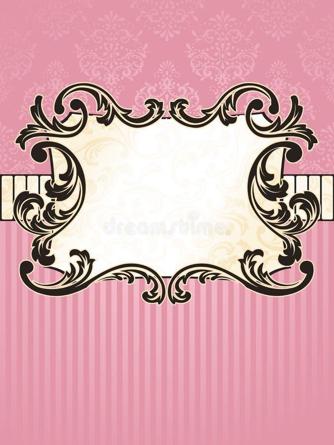 Elegant rechthoekig Frans uitstekend etiket royalty-vrije illustratie