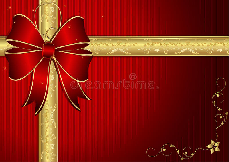 Elegant Red Card Background With Ribbon Stock Vector