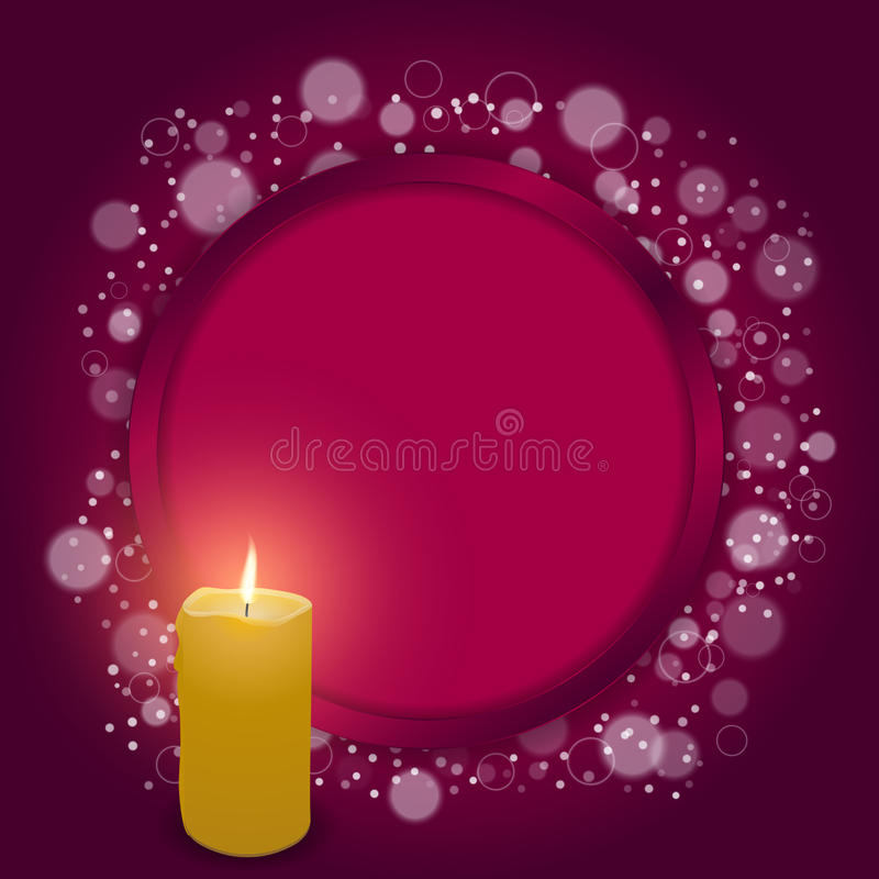 Elegant red card with festive red round hole and a burning candle. vector illustration
