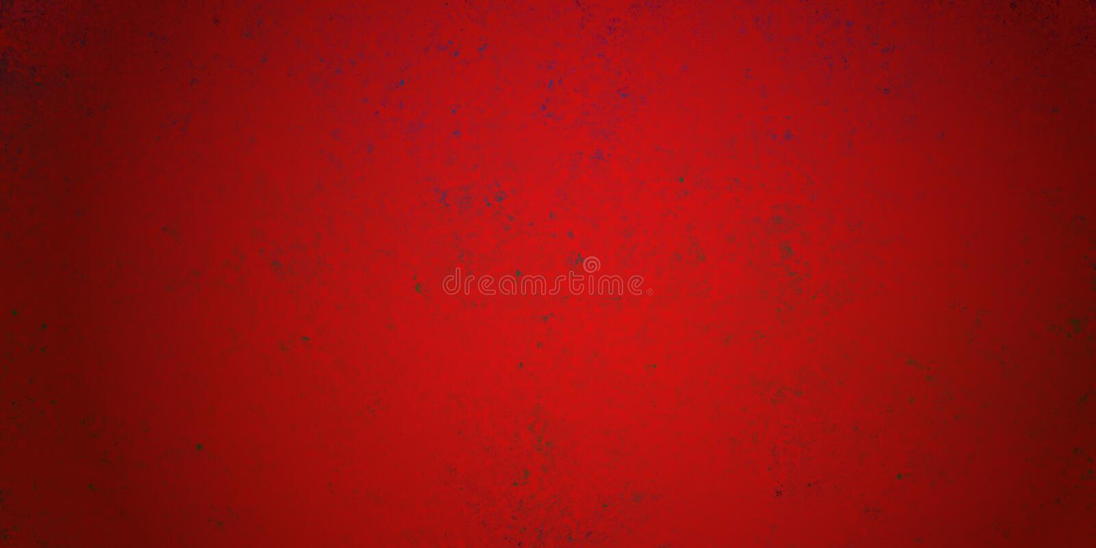 Elegant red Christmas background with grunge distressed paint texture in old vintage design with black vignette border and dark sp. Eckled paint spatter drips royalty free stock photos
