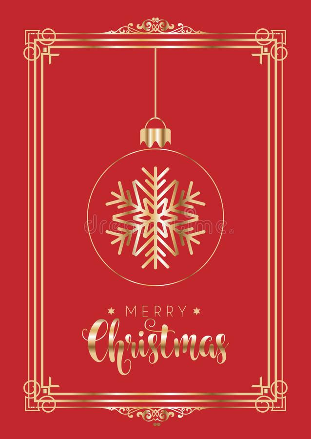 Elegant red and gold Christmas background vector illustration