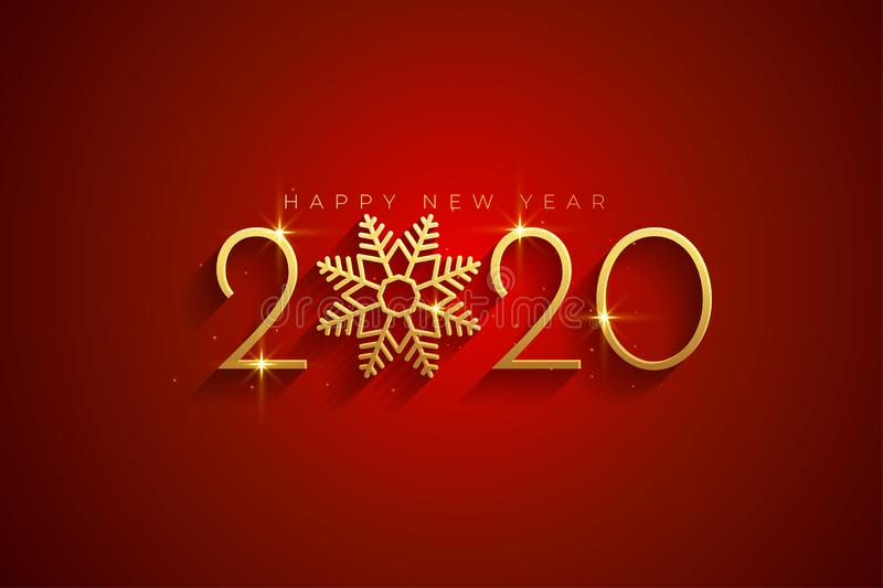 Elegant red and gold happy new year 2020 background card vector illustration
