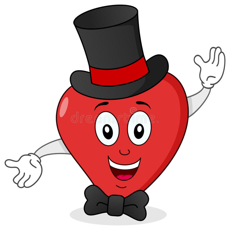 Download Elegant Red Heart With Top Hat & Bow Tie Stock Vector - Illustration: 42139261