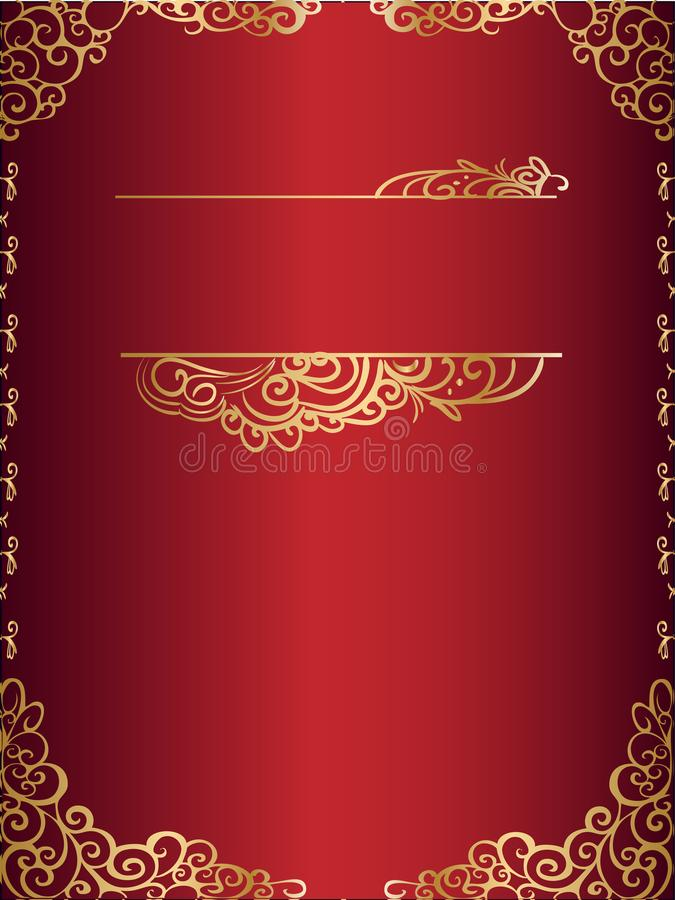 Elegant red rectangle greeting card with golden decor and frame royalty free illustration
