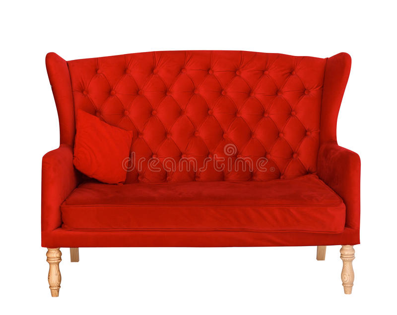 Elegant red sofa chair isolated on white. Elegant red sofa isolated on white. Chair with fabric upholstery royalty free stock photo
