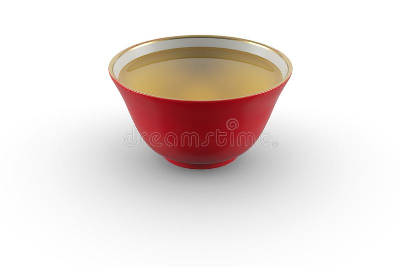 Red and white gold edging Japanese or Chinese porcelain tea bowl with green tea stock photography