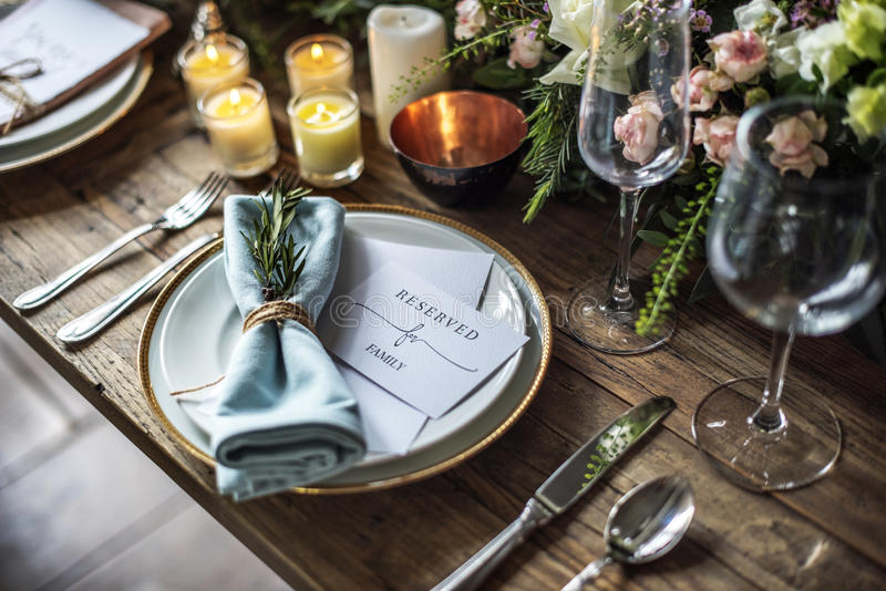 Elegant Restaurant Table Setting Service for Reception with Reserved Card stock image