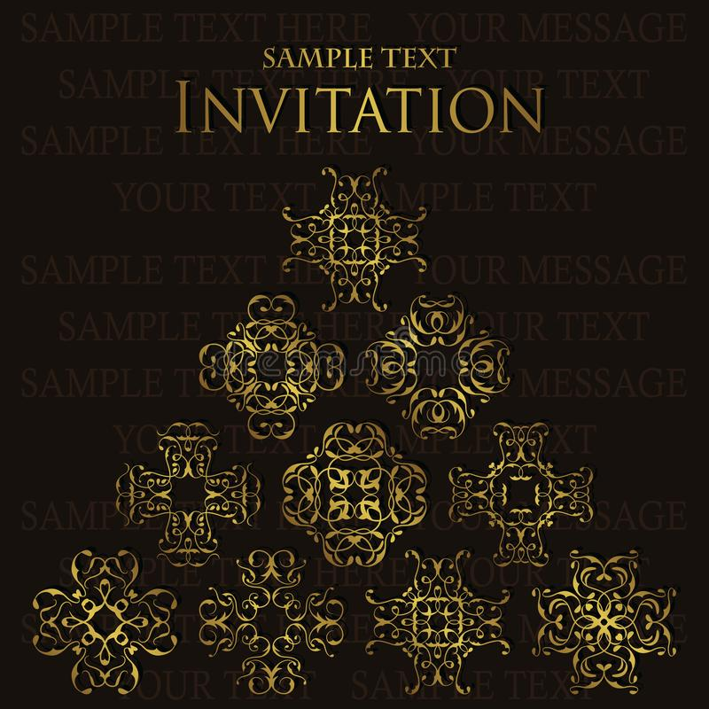 Elegant retro invitation. Retro paper with lace ornaments. And place for text stock illustration