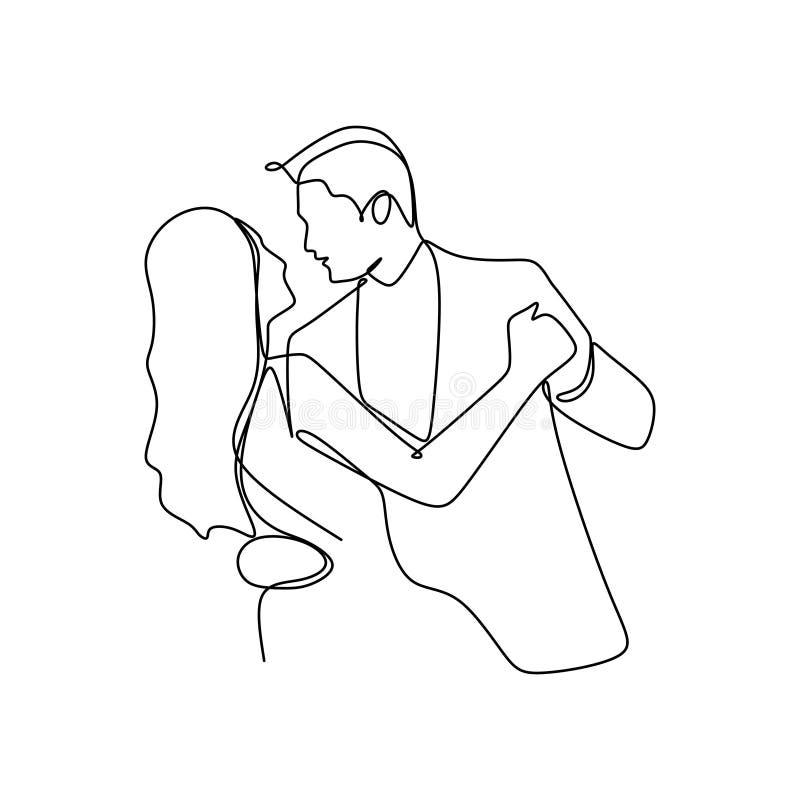 Elegant romantisch paar in liefde één ononderbroken van de de tekenings vectorillustratie van de lijnkunst minimalismstijl vector illustratie